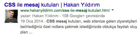 Yazarlık bilgilerinin gösterildiği Google Web Arama sonucu